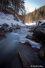 Icy River (Harold vd Berge) Tags: bw snow ice nature water austria oostenrijk long exposure ijs saalbach hinterglemm salzburgerland nd110 eos5dii