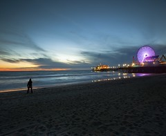 finale (Andy Kennelly) Tags: california santa light sky beach wet wheel silhouette night clouds reflections dark lights pier sand long exposure photographer sandy ferris monica after finale pwpartlycloudy