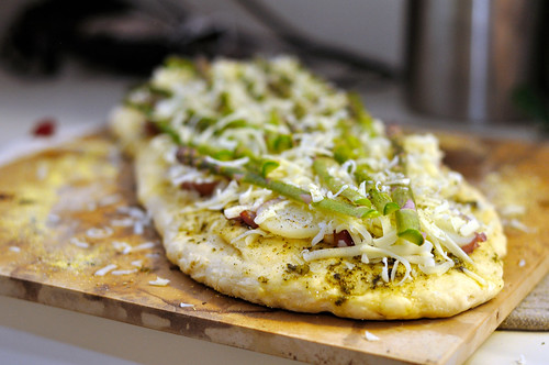 Asparagus, Red Potato and Carmelized Onion Pizza