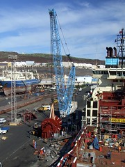 19 Maersk Advancer New Winch on Quay -  SP Macaulay 2011 (SPMac) Tags: new las yard crane offshore ships repair anchor winch handler palmas maersk ahts astican advancer