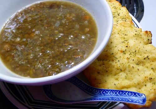 lentil soup & GF garlic naan