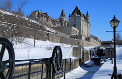 Frozen in time until the spring (SamSpade...) Tags: canon canal frozen locks chateau laurier rideau rideaucanal chateaulaurier bytown nowater 372 652 canoneos500d boatindrydock bytownlocks canonefs18200mmf3556is frozenuntilspring