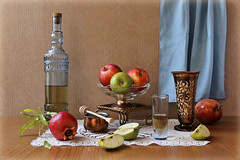 Rosh Hashanah Greeting (Esther Spektor - Thanks for 11+ millions views..) Tags: stilllife naturemorte bodegon naturezamorta stilleben naturamorta composition artisticphoto creativephotography arrangement holiday rosh hashanah greeting tabletop food fruit apple pomegranate slice wine stem bottle shotglass stand bowl goblet doily curtain dipper metal glass wooden tradition availablelight reflection pattern gren red blue copper brown estherspektor canon