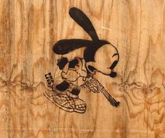 Revolver (only lines) Tags: plywood wall stencil revolver gun streetart london
