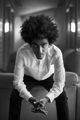 Fer... (Ral Barrero fotografa) Tags: man afro guy black portrait room