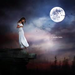 Edge of Eternity (~Brenda-Starr~) Tags: allrightsreserved october2016 girl trees moon rocks birds imagination fantasy fantasie stepping
