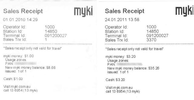 Myki receipts