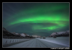 Aurora Road (Hkon Iversen Photog - On and off Flickr) Tags: road winter norway norge canon5d vei nordnorge northernlights auroraborealis sortland nordlys canon1740 northernnorway