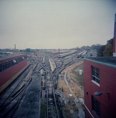 .. (Js) Tags: november autumn sky fall 120 yard train mediumformat landscape holga fuji ttc horizon tracks greenwood trains photowalk 100 distance reala 2010 cfn topwqe
