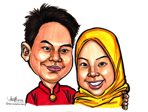 Malay couple caricatures in colour 13012011