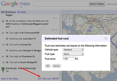 Google Maps Fuel Costs