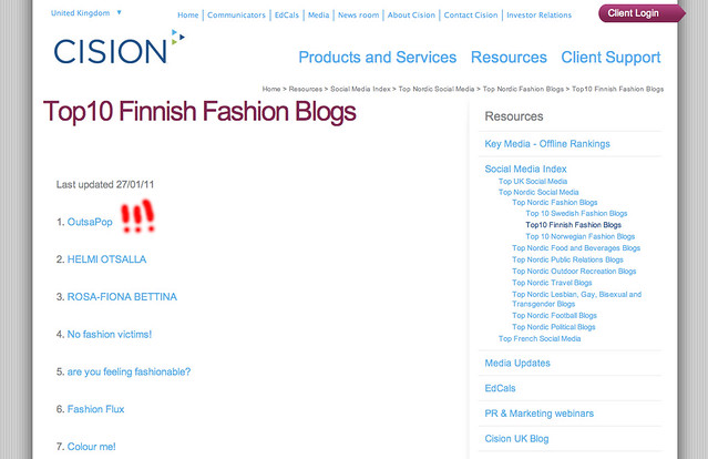 Cision Social Media Index Top 10 Finnish fashion blogs