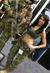 Our booth babe, Shelbi. (Magnum Boots USA) Tags: show las vegas work army construction gun shot desert boots military police gear safety footwear service shooting law enforcement range tradeshow magnum apparel sidewinder tactical hpi multicam 2011 crye ionmask