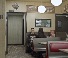 Self Portrait 1 (ari.gabel) Tags: selfportrait color 120 mamiya film night mediumformat kodak diner wafflehouse series 6x7 portra rz67 deadstare autaut artlibres