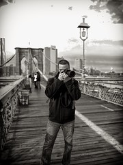 Me on the Brooklyn Bridge (Dave DiCello) Tags: newyorkcity portrait selfportrait newyork me brooklynbridge pittsburghpenguins silverefex davedicello canons95 hdrexposed