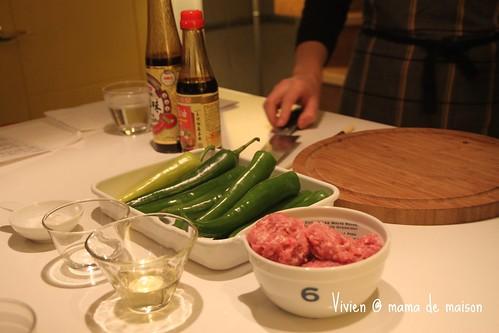 青辣椒鑲肉備料