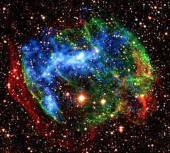 X-ray and optical composite of the supernova remnant W49B