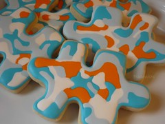 Puzzled !! (steamboatwillie33) Tags: blue food orange kitchen colors cookies shapes almond sugar puzzle cutter baked decorated 2011