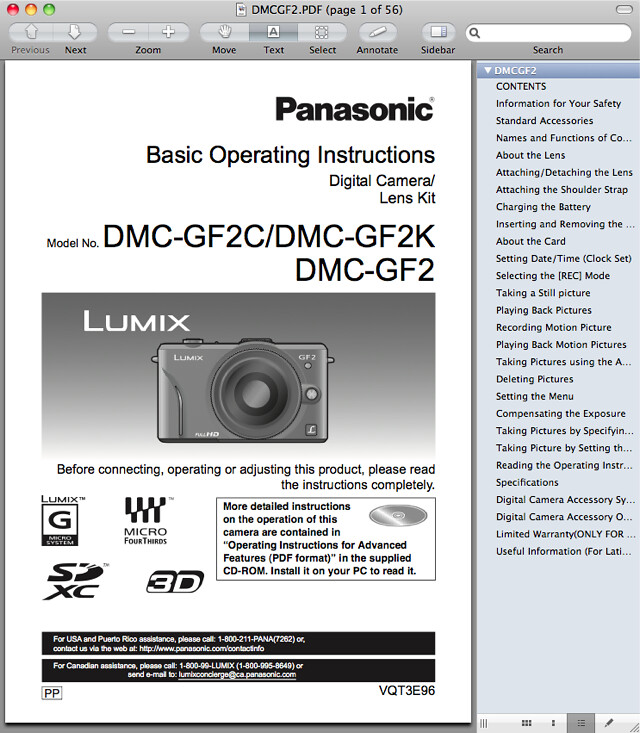 Panasonic GF2 Manual -- Basic Operating Instructions