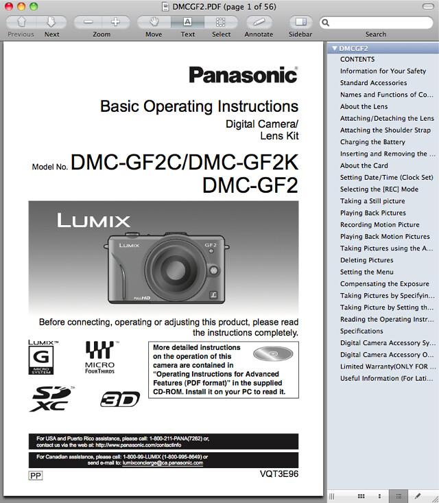 Panasonic GF2 Manual -- Basic Operating Instructions