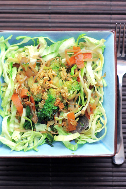 Cabbage, Mung Bean Sprouts and Ginger