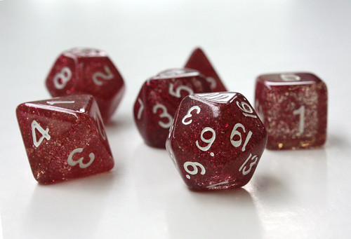 Pink sparkly D&D dice