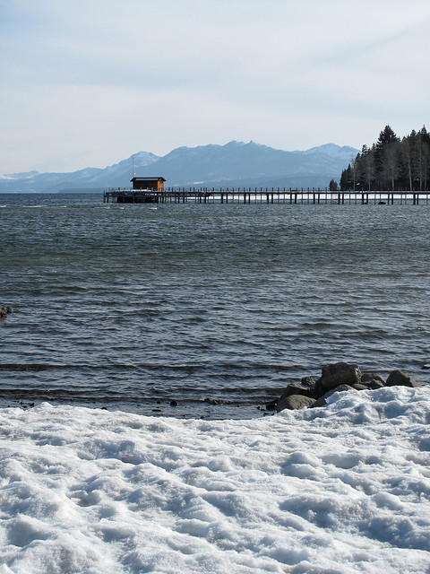 Snow on the beach at Lake Tahoe