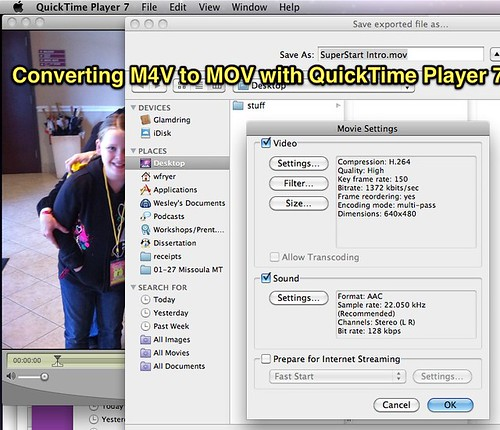Converting M4V to MOV with QuickTime Player 7
