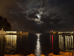 Moon Rising over Fontvieille Harbour - Monaco (neilalderney123) Tags: cloud moon reflection monaco moonrise fontvieille