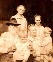 James M. Ward & Talitha Ward with Children on lap,Helen Isley & Maurine Isley, Willie Media Blackwell Isley behind Children, older woman unknown kin