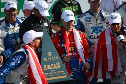 Scott Pruett shows his love for the Rolex 24 trophy