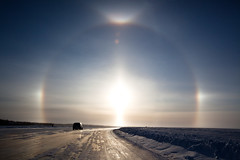 The Dog Days of Winter (davebrosha) Tags: winter portrait sky snow studio outdoors crystal pregnancy maternity parhelion northwestterritories sundog kiel yellowknife iceroad