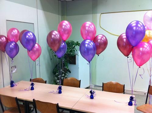 Tafeldecoratie 3ballonnen Personeelsvereniging NS Rotterdam