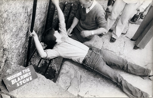 Me kissing the Blarney Stone in 1981