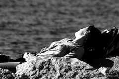 Thank you sun (Denis Lucci) Tags: sea blackandwhite woman sun mer white beach water lady vent soleil blackwhite nikon eau noir wind femme ctedazur provence blake plage blanc var noirblanc blackwhitephotos