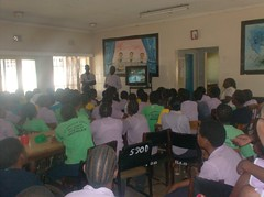 Girls watching the community education video