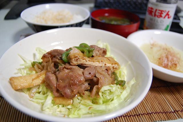 豚と油揚げの甘辛マスタード炒め #jisui
