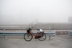 (A. Galassi) Tags: italy mist station bike fog train railway rimini exploration nebbia stazione foschia