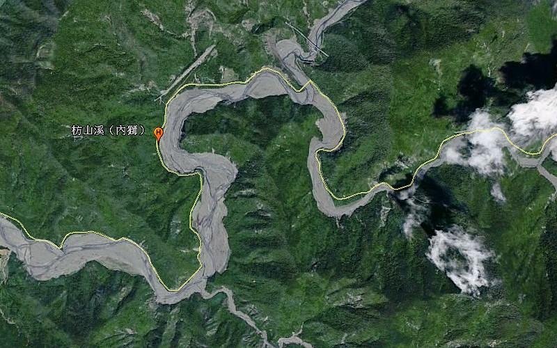 GoogleEarth上的枋山溪位置