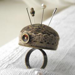 Pincushion Ring. (Wychbury Designs) Tags: uk bronze vintage pin handmade lace sewing pins ring fabric button pincushion etsy mad cushion madhatter hatter folksy wychbury