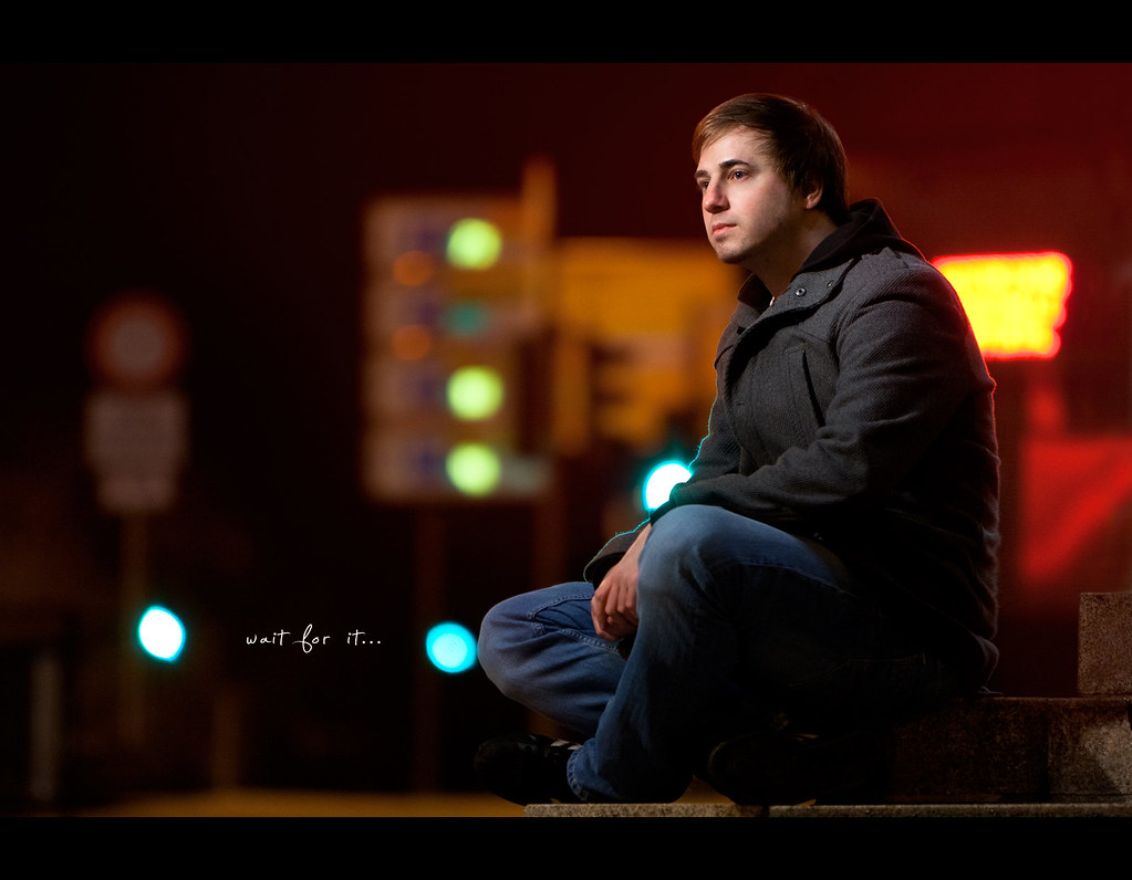 Day 187, 187/365, Project 365, Self Portrait, Bokeh, Strobist, night, night scene, red, rimlight, historische stadthalle, parking signs, commerical light panel, Canon Ef 70-200 F2.8 IS