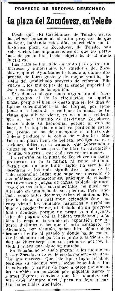 7-9-1925 La Época anuncia la paralización de las obras de Zocodover