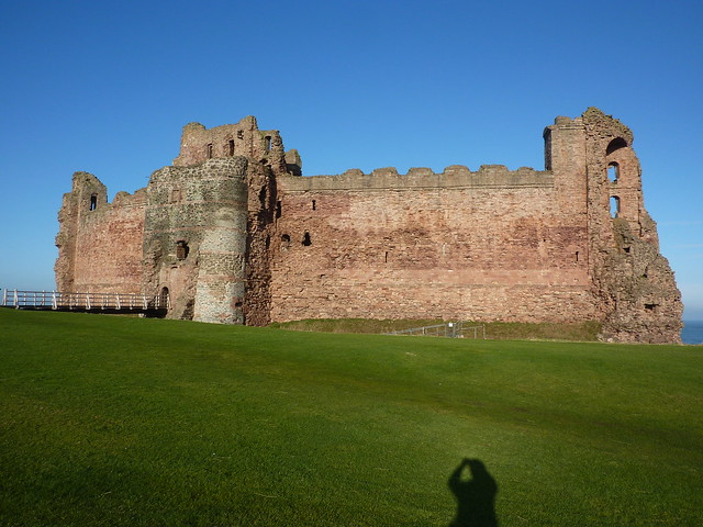 Afternoon sun shining on the pink castle walls
