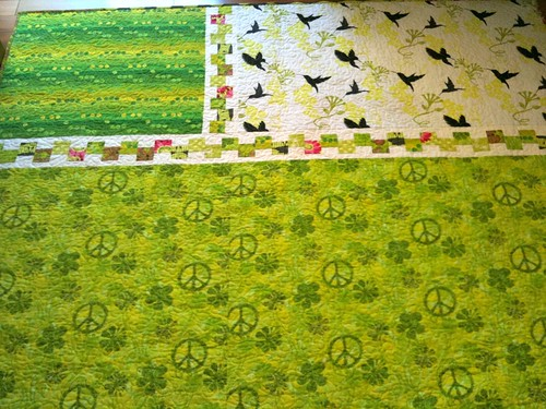 lime green quilt, back