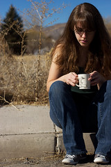 February 15 (Allison Young Photography) Tags: blue portrait sky selfportrait tree rabbit green cup nature girl self project hair allison outside outdoors duck weed cement young sidewalk converse mug series gutter 365 sagebrush ruck 2011 duckit dabbit rabbuck