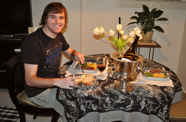 Brandon enjoying our Valentines dinner