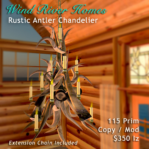 Rustic Antler Chandelier - Wind River Homes by Teal Freenote