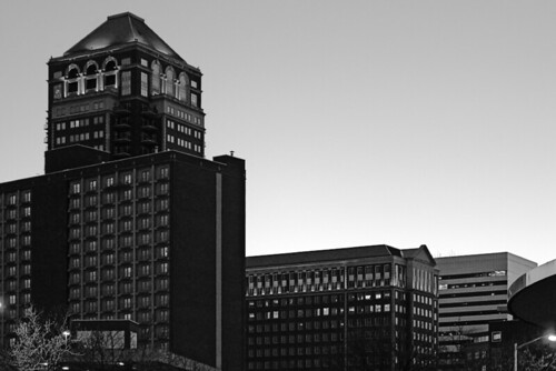 Downtown Clayton at dusk - monochrome