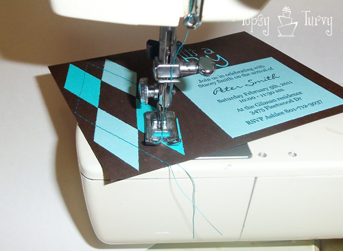 argyle baby shower invitation sewing lines