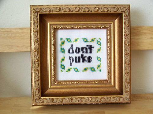 Don't Puke Cross Stitch (Framed)